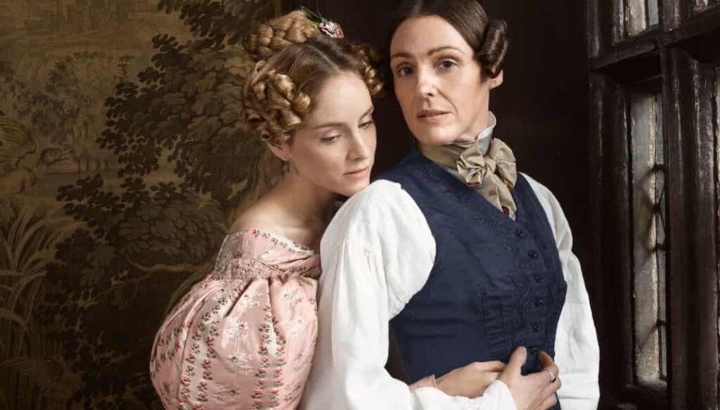 Anne Lister hugging Ann Walker from behind in Gentleman Jack season 2 cast
